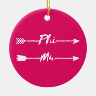Phi Mu Arrow Ceramic Ornament