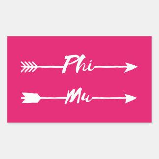 Phi Mu Arrow Rectangular Sticker