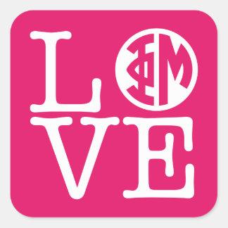 Phi Mu Love Square Sticker