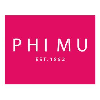 Phi Mu Modern Type Postcard