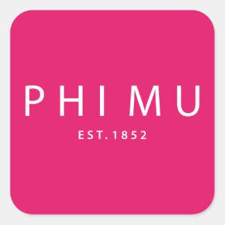 Phi Mu Modern Type Square Sticker