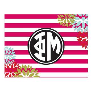 Phi Mu | Monogram Stripe Pattern Postcard