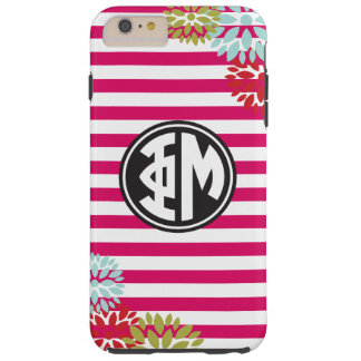 Phi Mu   Monogram Stripe Pattern Tough iPhone 6 Plus Case