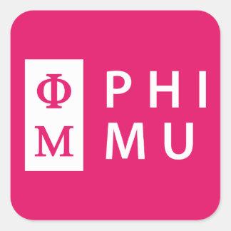 Phi Mu Stacked Square Sticker