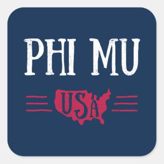 Phi Mu - USA Square Sticker