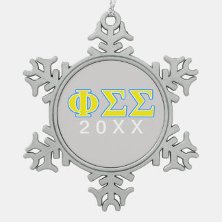 Phi Sigma Sigma Blue and Yellow Letters Snowflake Pewter Christmas Ornament