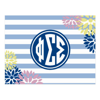 Phi Sigma Sigma | Monogram Stripe Pattern Postcard