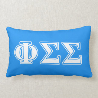 Phi Sigma Sigma White and Blue Letters Lumbar Cushion
