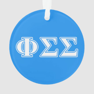 Phi Sigma Sigma White and Blue Letters Ornament