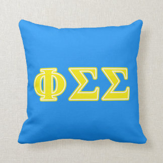 Phi Sigma Sigma Yellow Letters Cushion