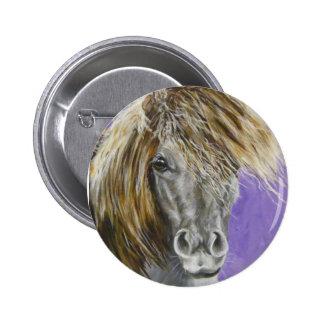 phil, mini horse 6 cm round badge