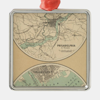 Philadelphia and Boston Metal Ornament
