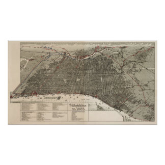 Philadelphia birdseye map  - 1887 (McFetridge) Big Poster