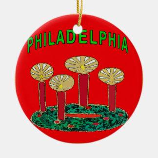 Philadelphia Christmas Tree Ceramic Ornament