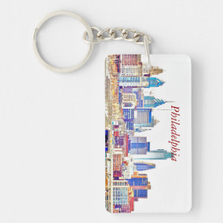 Philadelphia Color Sketch Skyline Rectangle Key Ch Key Ring