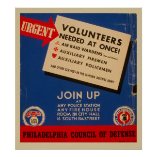 Philadelphia Council Of Defense Join Now Vintage Poster