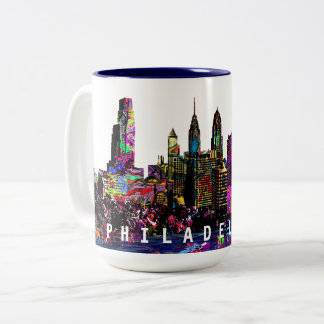 Philadelphia in graffiti Two-Tone coffee mug