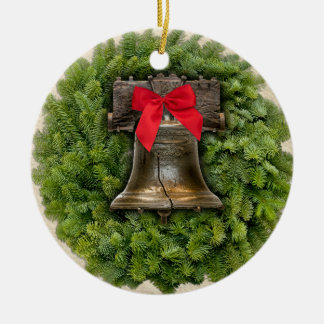 Philadelphia Liberty Bell Wreath on Parchment Ceramic Ornament