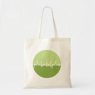 Philadelphia, PA | Green Calligraphy Ombre Tote Bag