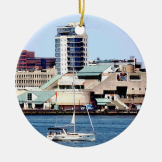 Philadelphia PA - Sailboat by Penn's Landing Ceramic Ornament