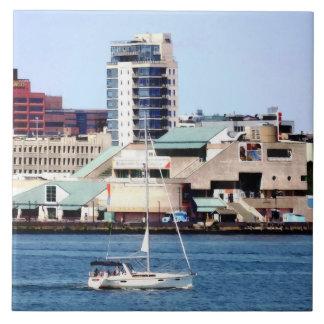Philadelphia PA - Sailboat by Penn's Landing Ceramic Tile