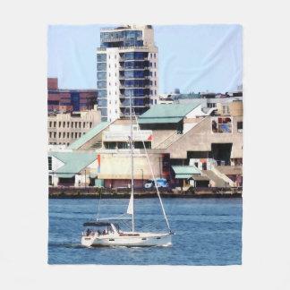 Philadelphia PA - Sailboat by Penn's Landing Fleece Blanket