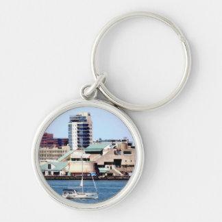 Philadelphia PA - Sailboat by Penn's Landing Key Ring