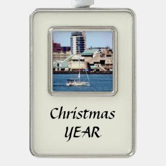 Philadelphia PA - Sailboat by Penn's Landing Silver Plated Framed Ornament