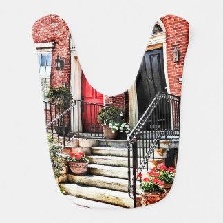 Philadelphia PA - Townhouse With Red Geraniums Bib