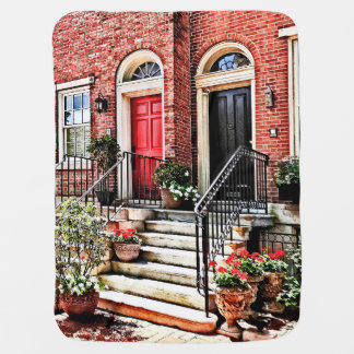 Philadelphia PA - Townhouse With Red Geraniums Receiving Blanket