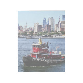 Philadelphia PA - Tugboat by Philadelphia Skyline Notepad