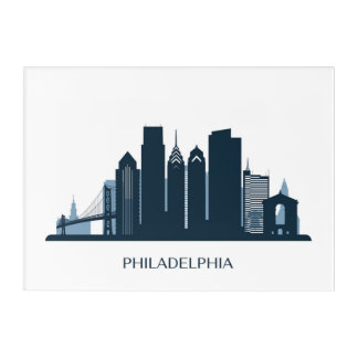 Philadelphia, Pennsylvania | Monochromatic City Acrylic Wall Art