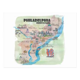 Philadelphia Pennsylvania Retro Vintage Art Map Postcard