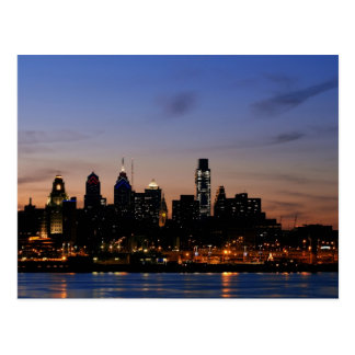 Philadelphia Skyline at Twilight- Revised Postcard