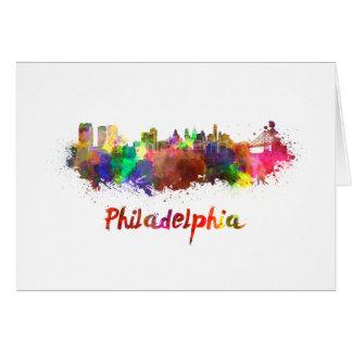 Philadelphia skyline in watercolor card
