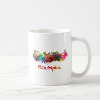 Philadelphia skyline in watercolor taza de café