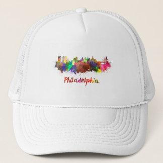 Philadelphia skyline in watercolor trucker hat
