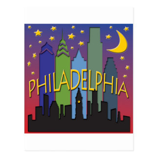 Philadelphia Skyline nightlife Postcard