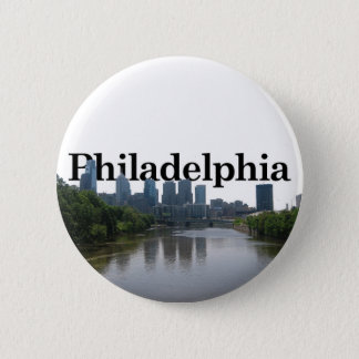 Philadelphia Skyline - with Phil. in the backgrnd 6 Cm Round Badge