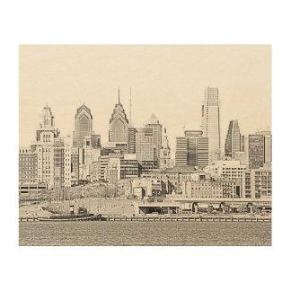 Philadelphia Skyline Wood Canvas