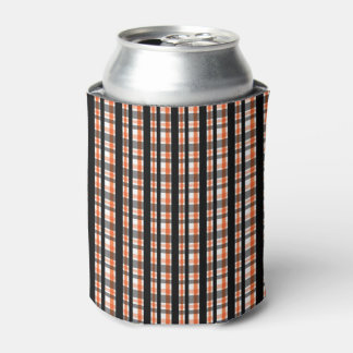 Philadelphia Sports Fan Black Orange White Plaid Can Cooler