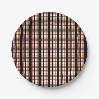 Philadelphia Sports Fan Black Orange White Plaid Paper Plate