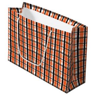 Philadelphia Sports Fan Orange Black White Plaid Large Gift Bag