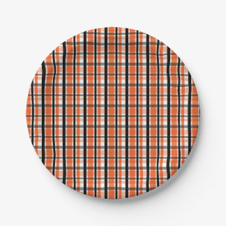 Philadelphia Sports Fan Orange Black White Plaid Paper Plate