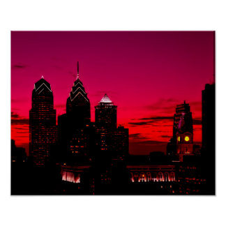 Philadelphia Sunset Skyline Poster