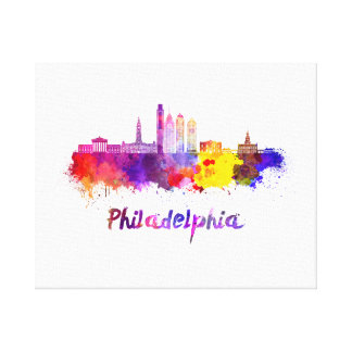 Philadelphia V2 skyline in watercolor Canvas Print