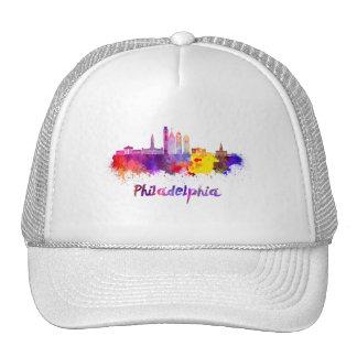 Philadelphia V2 skyline in watercolor Cap
