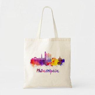 Philadelphia V2 skyline in watercolor Tote Bag