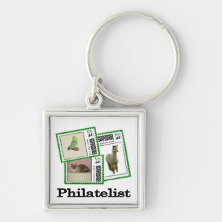 Philatelist 3 Silver-Colored square key ring