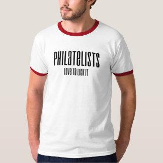 Philatelists Love to Lick It (black) T-shirts